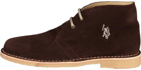 Pánské tmavě hnědé semišové boty U.S. Polo