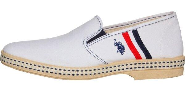 Pánské bílé textilní mokasíny U.S. Polo