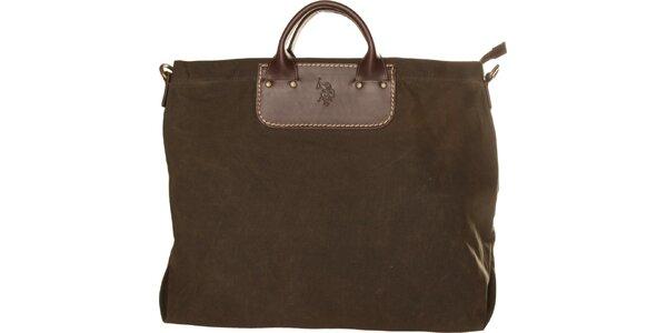 Dámská olivově zelená textilní kabelka U.S. Polo