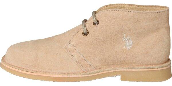 Dámské světle béžové semišové boty U.S. Polo