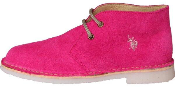 Dámské fuchsiové semišové boty U.S. Polo