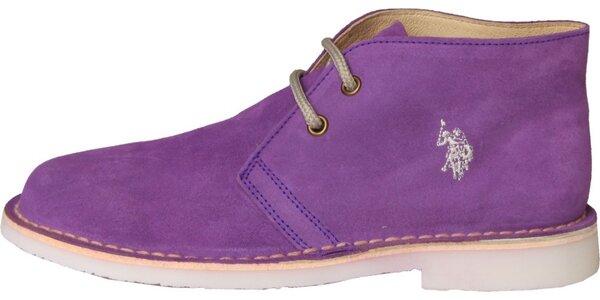 Dámské fialové semišové boty U.S. Polo