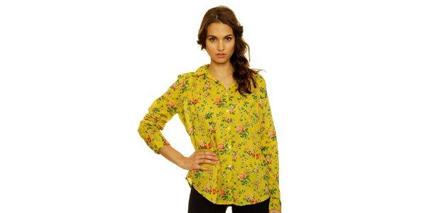 Dámská žlutá košile s květinovým vzorem Nice Things