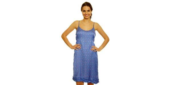 Dámské modré šaty s květinami Nice Things