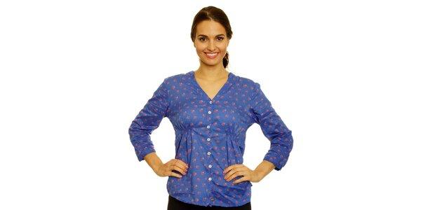Dámská modrá košile s květinami Nice Things
