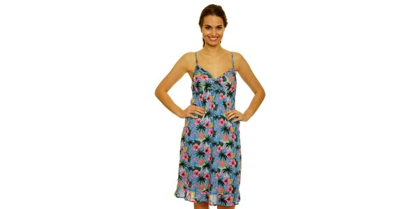Dámské modré šaty Nice Things s plameňáky a palmami