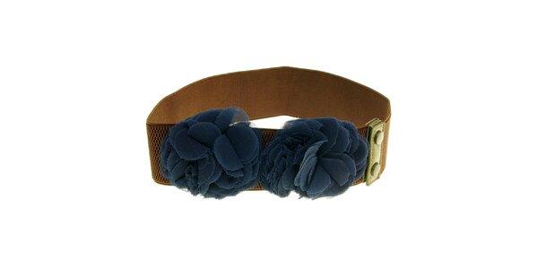 Dámský hnědý pásek s modrými květy Nice Things
