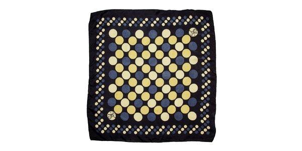 Dámský modro-žlutý hedvábný šátek s kolečky Nice Things