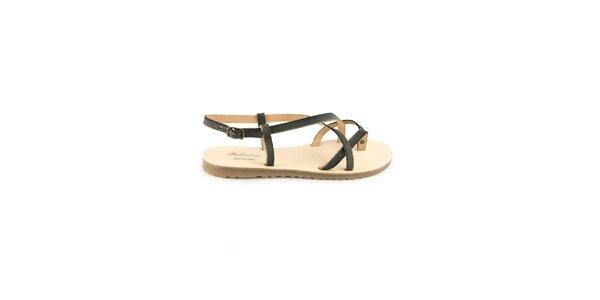 Dámské černé kožené sandály Pelledoca