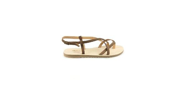 Dámské tmavě hnědé kožené sandály Pelledoca