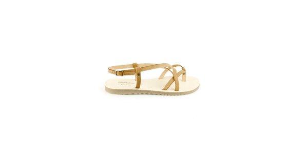 Dámské béžové kožené sandály Pelledoca