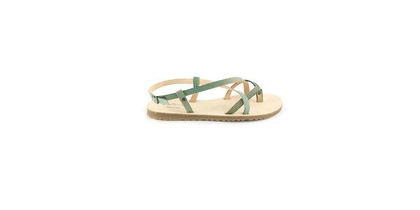 Dámské pastelově modré kožené sandály Pelledoca