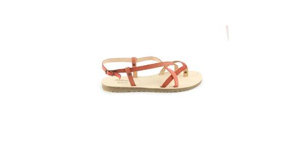 Dámské červené kožené sandály Pelledoca