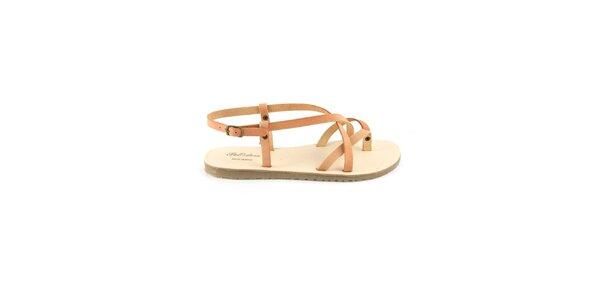 Dámské růžovohnědé kožené sandály Pelledoca