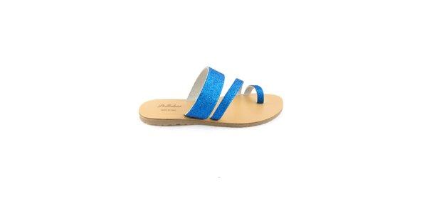 Dámské modré kožené pantofle Pelledoca se třpytkami