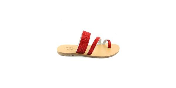 Dámské červené kožené pantofle Pelledoca se třpytkami