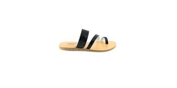 Dámské černé kožené pantofle Pelledoca se třpytkami