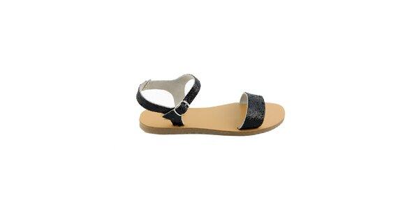 Dámské černé kožené sandály Pelledoca se třpytkami