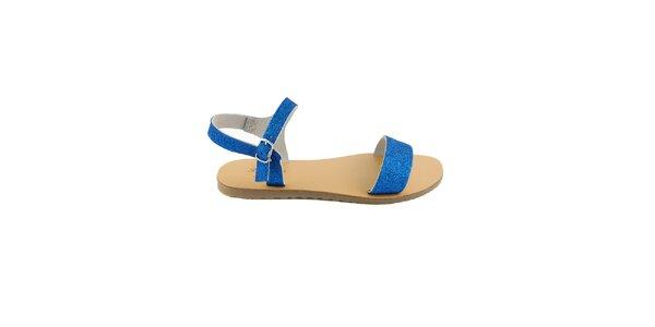 Dámské modré kožené sandály Pelledoca se třpytkami