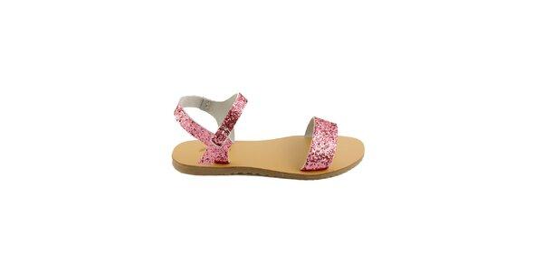 Dámské růžové kožené sandály Pelledoca se třpytkami