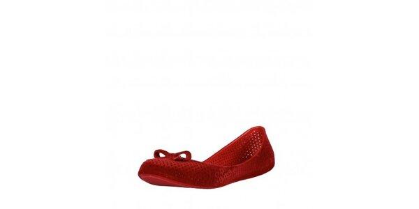 Dámské červené perforované balerínky Mel se semišovou úpravou