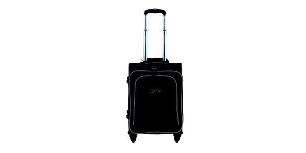 Černo-béžový malý kufr na kolečkách Esprit