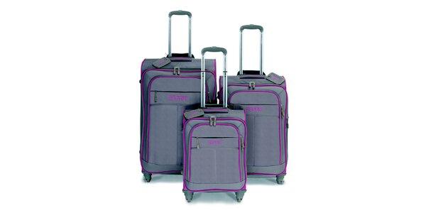 Šedo-hnědý set tří kufrů na kolečkách s růžovými lemy Esprit