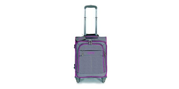 Šedo-hnědý malý kufr na kolečkách s růžovými lemy Esprit