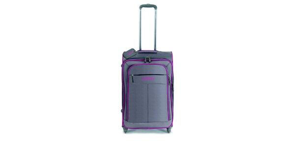 Šedo-hnědý středně velký kufr na kolečkách a růžovými lemy Esprit