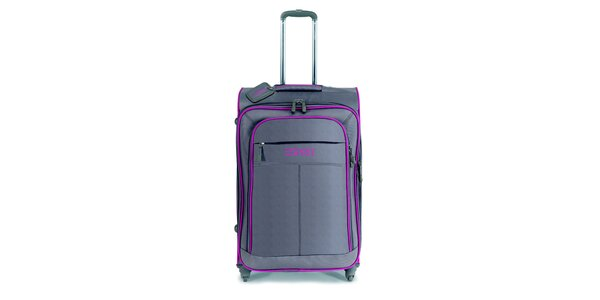 Šedo-hnědý velký kufr na kolečkách s růžovými lemy Esprit