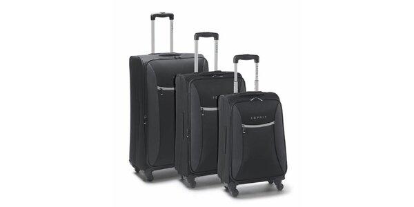 Černo-šedý set tří kufrů na kolečkách Esprit