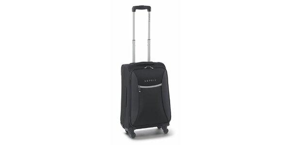 Černo-šedý malý kufr na kolečkách Esprit