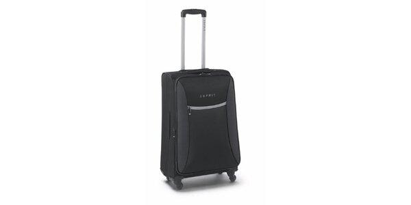 Černo-šedý středně velký kufr na kolečkách Esprit
