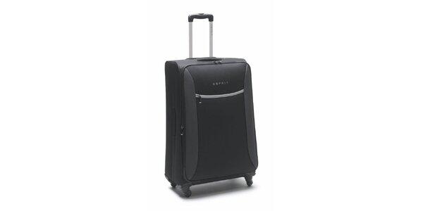 Černo-šedý velký kufr na kolečkách Esprit