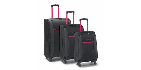 Černo-růžový set tří kufrů na kolečkách Esprit