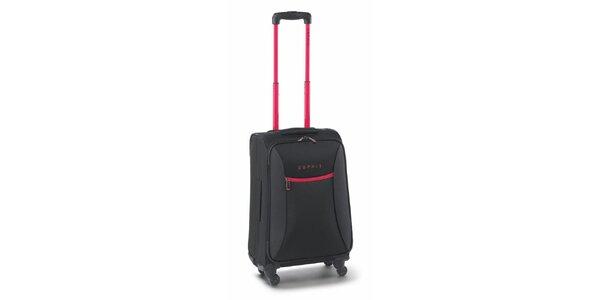 Černo-růžový malý kufr na kolečkách Esprit
