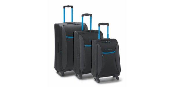 Černo-tyrkysový set tří kufrů na kolečkách Esprit