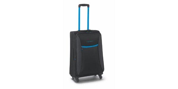 Černo-tyrkysový středně velký kufr na kolečkách Esprit