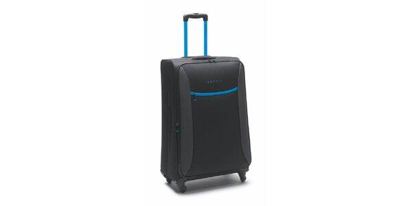 Černo-tyrkysový velký kufr na kolečkách Esprit