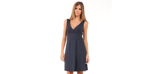 Dámské temně modré šaty ve stylu 50. let Conquista
