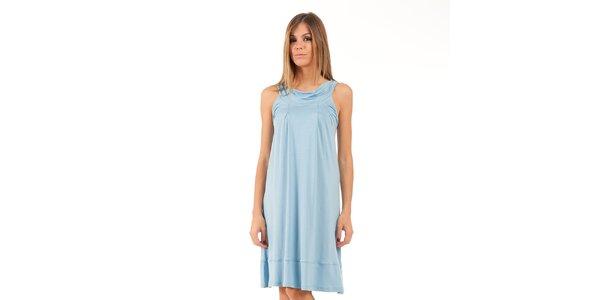 Dámské světle modré šaty s lodičkovým výstřihem Conquista