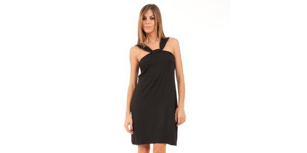 Dámské černé šaty s širokými řasenými ramínky Conquista