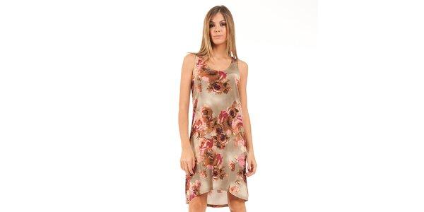 Dámské asymetrické béžové šaty s hnědo-růžovými květinami Conquista