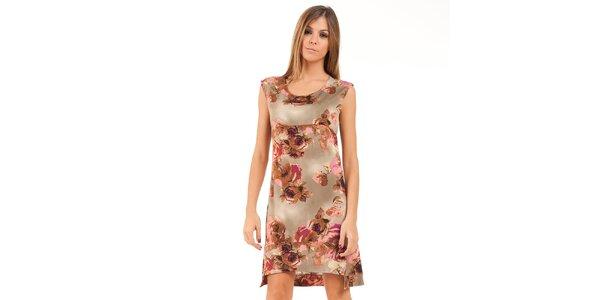 Dámské béžové šaty s hnědo-růžovými květinami Conquista