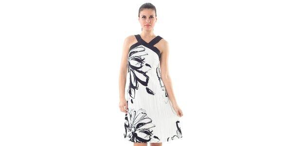 Dámské černo-bílé šaty s uměleckým potiskem Conquista
