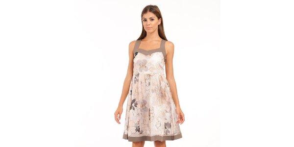 Dámské krémovo-béžové květované šaty Conquista