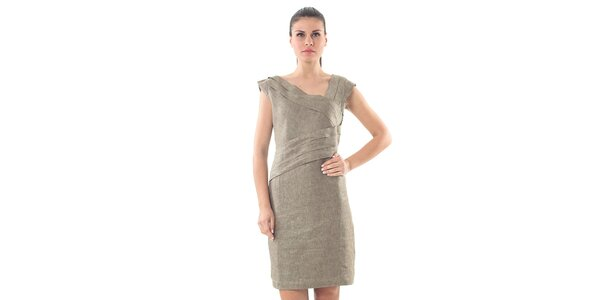 Dámské lněné khaki šaty Conquista