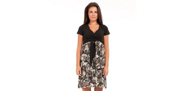 Dámské černo-bílé šaty Conquista s potiskem
