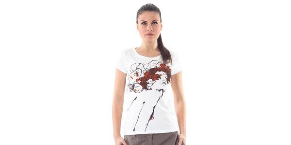 Dámské bílé tričko Conquista s potiskem