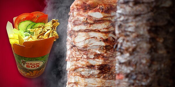 Döner Box: maso, hranolky a salát s dresingem